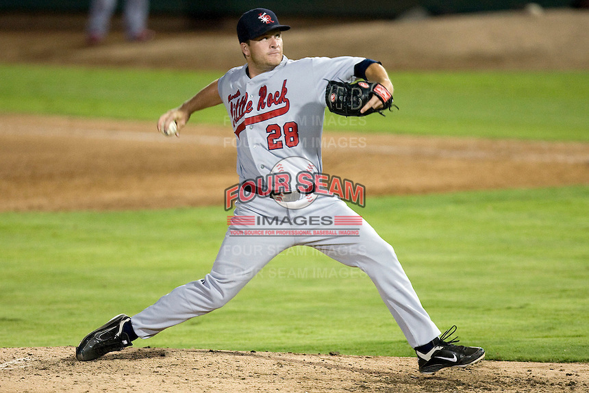 Arkansas Travelers pitcher Ryan Brasier #28 delivers a pitch during the Texas League All Star Game played on June 29, 2011 at Nelson Wolff Stadium in San Antonio, Texas. The South defeated the North 3-2 in the contest. (Andrew Woolley / Four Seam Images)