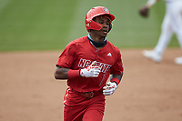 Terrell Tatum (1) of the North Carolina State Wolfpack rounds the bases after hitting a home run against the North Carolina Tar Heels at Boshamer Stadium on March 27, 2021 in Chapel Hill, North Carolina. (Brian Westerholt/Four Seam Images)