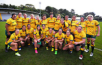 The Wallaroos pose for a team photo after the 2017 International Women's Rugby Series rugby match between England Roses and Australia Wallaroos at Porirua Park in Wellington, New Zealand on Friday, 9 June 2017. Photo: Dave Lintott / lintottphoto.co.nz