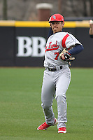 Stony Brook Seawolves infielder Gabriel Pena #7 throwing in the outfield before a game against the East Carolina University Pirates at Clark-LeClair Stadium on March 4, 2012 in Greenville, NC.  East Carolina defeated Stony Brook 4-3. (Robert Gurganus/Four Seam Images)