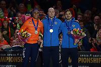 SPEEDSKATING: HEERENVEEN: 11-01-2020, IJsstadion Thialf, European Championship distances, Podium 500m Men, Dai Dai Ntab (NED), Pavel Kulizhnikov (RUS), Ruslan Murashov (RUS), ©foto Martin de Jong