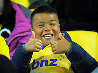 A young fan in the grandstand during the Super Rugby match between the Hurricanes and Southern Kings at Westpac Stadium, Wellington, New Zealand on Friday, 25 March 2016. Photo: Dave Lintott / lintottphoto.co.nz