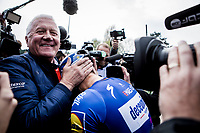 Philippe GILBERT (BEL/Deceuninck-Quick Step) wins his first Roubaix and is now 1 win away of having won ALL 5 Monument Classics (Milano-Sanremo still missing from his list)<br /> <br /> Congratulated by his teammanager Patrick Lefevre. <br /> <br /> 117th Paris-Roubaix (1.UWT)<br /> 1 Day Race: Compiègne-Roubaix (257km)<br /> <br /> ©kramon