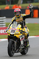 Josh Brookes of the Anvil Hire TAG Yamaha Racing team (No. 25) celebrates after claiming Pole Position during qualifying for the 2017 BSB Round 6 at Brands Hatch GP Circuit at Brands Hatch, Longfield, England on Saturday 22 July 2017. Photo by David Horn/PRiME Media Images
