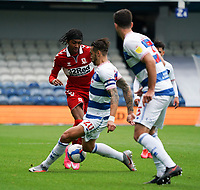 Middlesbrough's Djed Spence battles for possession with Queens Park Rangers' Geoff Cameron<br /> <br /> Photographer Stephanie Meek/CameraSport<br /> <br /> The EFL Sky Bet Championship - Queens Park Rangers v Middlesbrough - Saturday 26th September 2020 - Loftus Road - London <br /> <br /> World Copyright © 2020 CameraSport. All rights reserved. 43 Linden Ave. Countesthorpe. Leicester. England. LE8 5PG - Tel: +44 (0) 116 277 4147 - admin@camerasport.com - www.camerasport.com