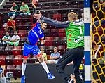 James Scott jr. (HBW Balingen #24) ; Johannes Bitter (TVB Stuttgart #1) ; BGV Handball Cup 2020 Halbfinaltag: TVB Stuttgart vs. HBW Balingen-Weilstetten am 11.09.2020 in Ludwigsburg (MHPArena), Baden-Wuerttemberg, Deutschland<br /> <br /> <br /> Foto © PIX-Sportfotos *** Foto ist honorarpflichtig! *** Auf Anfrage in hoeherer Qualitaet/Aufloesung. Belegexemplar erbeten. Veroeffentlichung ausschliesslich fuer journalistisch-publizistische Zwecke. For editorial use only.