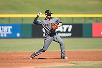 Salt River Rafters third baseman Drew Ellis (13), of the Arizona Diamondbacks organization, throws to first base during an Arizona Fall League game against the Mesa Solar Sox at Sloan Park on November 9, 2018 in Mesa, Arizona. Mesa defeated Salt River 5-4. (Zachary Lucy/Four Seam Images)