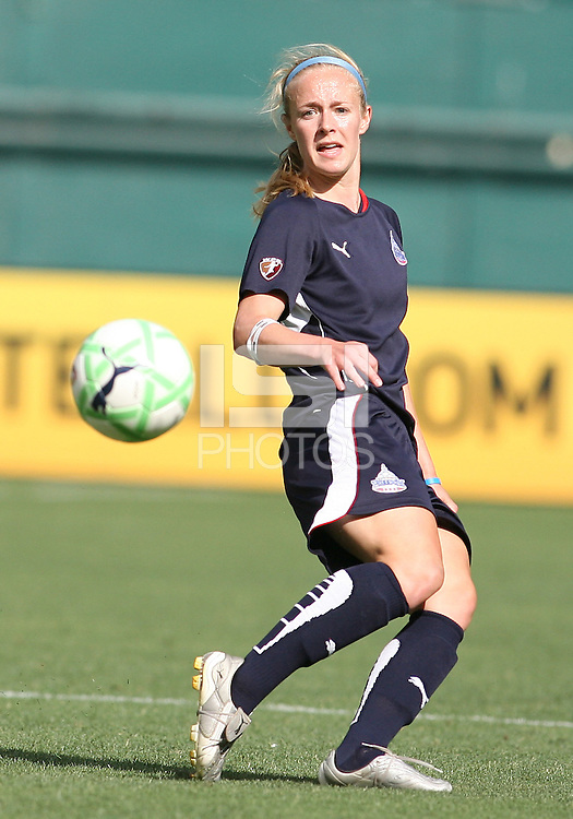 Becky Sauerbrunn #22 of the Washington Freedom makes a pass during a WPS match against St. Louis Athletica at RFK Stadium on July 18 2009, in Washington D.C. Freedom won the match 1-0.