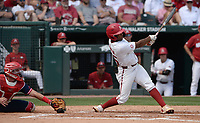 Arkansas center fielder Christian Franklin hits a solo home run Friday, June 4, 2021, during the fourth inning of the Razorbacks' 13-8 win over New Jersey Institute of Technology in the first game of the NCAA Fayetteville Regional at Baum-Walker Stadium in Fayetteville. Visit nwaonline.com/210605Daily/ for today's photo gallery.<br /> (NWA Democrat-Gazette/Andy Shupe)