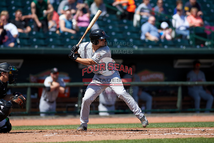 Wisconsin Timber Rattlers Brent Diaz (18) at bat during a Midwest League game against the Great Lakes Loons at Dow Diamond on May 4, 2019 in Midland, Michigan. Great Lakes defeated Wisconsin 5-1. (Zachary Lucy/Four Seam Images)