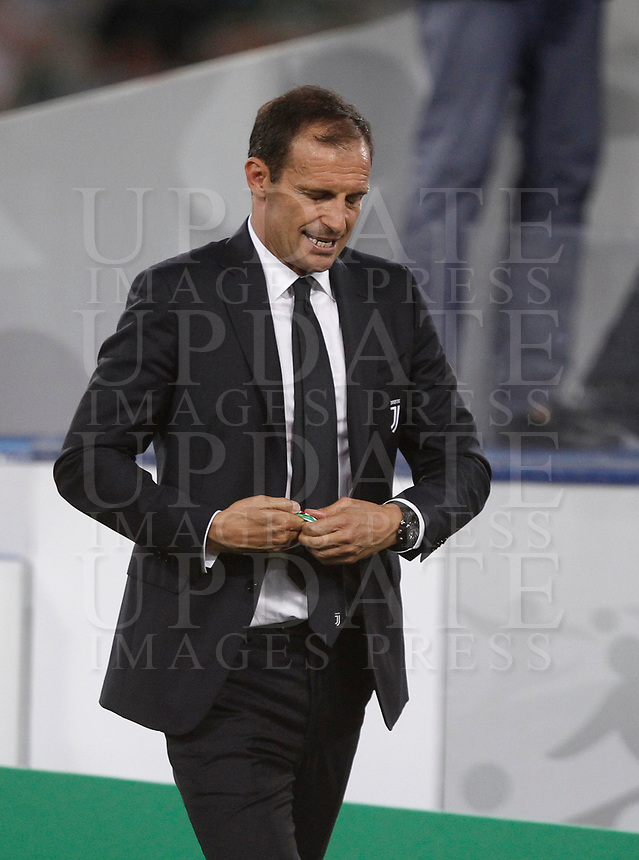Calcio, Football - Juventus vs Lazio Italian Super Cup Final  <br /> Juventus' coach Massimiliano Allegri looks dejected after the Italian Super Cup Final football match between Juventus and Lazio at Rome's Olympic stadium, on August 13, 2017.<br /> UPDATE IMAGES PRESS/Isabella Bonotto