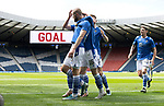 St Johnstone v Hibs…22.05.21  Scottish Cup Final Hampden Park<br />Shaun Rooney celebrates his goal with Glenn Middleton, Jason Kerr,and Craig Bryson<br />Picture by Graeme Hart.<br />Copyright Perthshire Picture Agency<br />Tel: 01738 623350  Mobile: 07990 594431