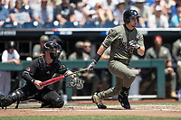 Vanderbilt Commodores outfielder JJ Bleday (51) follows through on his swing during Game 3 of the NCAA College World Series against the Louisville Cardinals on June 16, 2019 at TD Ameritrade Park in Omaha, Nebraska. Vanderbilt defeated Louisville 3-1. (Andrew Woolley/Four Seam Images)