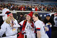 JACKSONVILLE, FL - NOVEMBER 10: Rose Lavelle #16 of the United States celebrates with USA fans during a game between Costa Rica and USWNT at TIAA Bank Field on November 10, 2019 in Jacksonville, Florida.