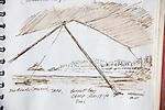 Burnett Bay, British Columbia, ink on Paper, Journal Art 2005, August 19, 2005,