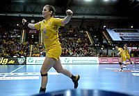 Handball Frauen / Damen  / women 1. Bundesliga - DHB - HC Leipzig : Frankfurter HC - im Bild: Ania Rösler jubelt . Foto: Norman Rembarz .