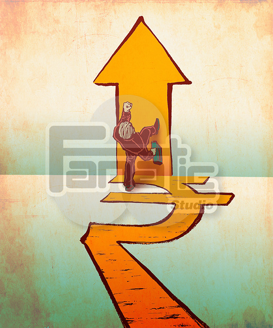 Businessman walking on rupee and arrow signs