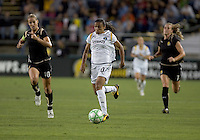 Marta (center) brings the ball downfield, pursued by Leslie Osborne (10) and Leigh Ann Robinson (7). LA Sol and FC Gold Pride tied 0-0 at Buck Shaw Stadium in Santa Clara, California on July 23, 2009.