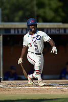 Kier Meredith (3) (Clemson) of the High Point-Thomasville HiToms follows through on his swing against the Martinsville Mustangs at Finch Field on July 26, 2020 in Thomasville, NC.  The HiToms defeated the Mustangs 8-5. (Brian Westerholt/Four Seam Images)