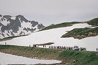 snow in june on the Cormet de Roselend (1977m)<br /> <br /> Stage 7: Moûtiers > Saint-Gervais Mont Blanc (129km)<br /> 70th Critérium du Dauphiné 2018 (2.UWT)