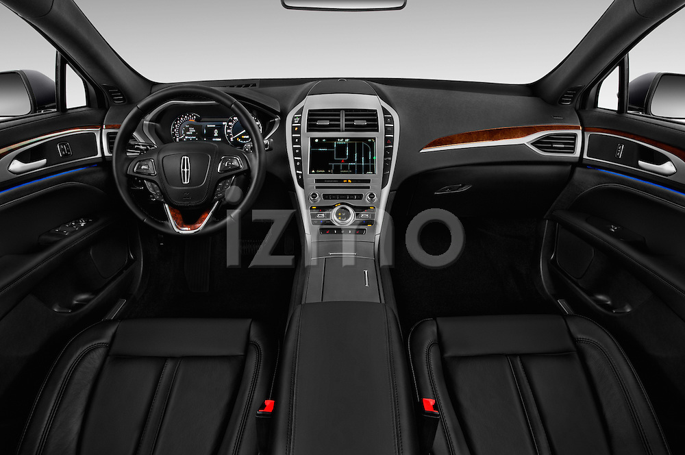Stock photo of straight dashboard view of 2018 Lincoln MKZ Select 4 Door Sedan Dashboard