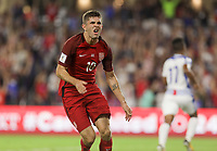 Orlando, FL - Friday Oct. 06, 2017: Christian Pulisic scores during a 2018 FIFA World Cup Qualifier between the men's national teams of the United States (USA) and Panama (PAN) at Orlando City Stadium.