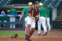 Cal Raleigh (35) of the Florida State Seminoles reacts after an out against the Notre Dame Fighting Irish in Game Four of the 2017 ACC Baseball Championship at Louisville Slugger Field on May 24, 2017 in Louisville, Kentucky. The Seminoles walked-off the Fighting Irish 5-3 in 12 innings. (Brian Westerholt/Four Seam Images)