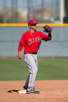 Los Angeles Angels second baseman Franklin Torres (7) during a Minor League Spring Training game against the Chicago Cubs at Sloan Park on March 20, 2018 in Mesa, Arizona. (Zachary Lucy/Four Seam Images)