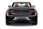 Straight rear view of 2021 Mercedes Benz E-Class AMG-Line 4 Door Convertible Rear View  stock images