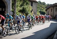 Julian Alaphilippe (FRA/Deceuninck-QuickStep) rolling through town<br /> <br /> Stage 19 from Bourg-en-Bresse to Champagnole (167km)<br /> <br /> 107th Tour de France 2020 (2.UWT)<br /> (the 'postponed edition' held in september)<br /> <br /> ©kramon