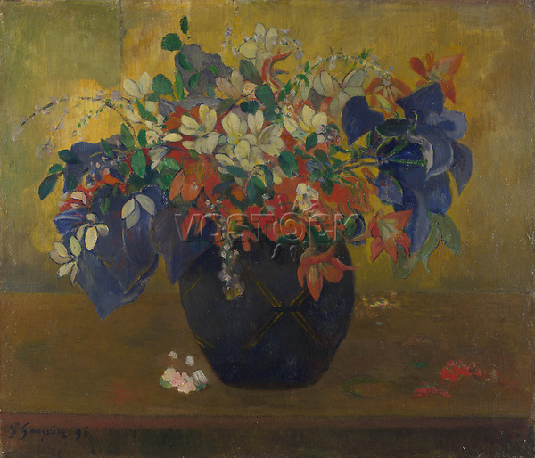 Full title: A Vase of Flowers<br /> Artist: Paul Gauguin<br /> Date made: 1896<br /> Source: http://www.nationalgalleryimages.co.uk/<br /> Contact: picture.library@nationalgallery.co.uk<br /> <br /> Copyright © The National Gallery, London