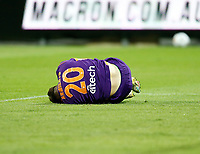 18th April 2021; HBF Park, Perth, Western Australia, Australia; A League Football, Perth Glory versus Wellington Phoenix; Carlo Armiento of the Perth Glory lays in the box after a heavy tackle but no foul