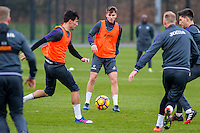 Tuesday 17 January 2017<br /> Pictured: Tom Caroll in action during training <br /> Re:Swansea City training session at the Fairwood Training ground, Fairwood, Swansea, Wales, UK