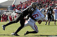 Purdue defensive back Ricardo Allen (21) tackles Wisconsin wide receiver Isaac Anderson (6). The Wisconsin Badgers defeated the Purdue Boilermakers 34-13 at Ross-Ade Stadium, West Lafayette, Indiana on November 6, 2010.