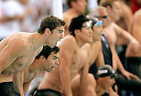 U.S. Michael Phelps, foreground, reacts as his team races to win the gold medal in the Men's 4x200m Freestyle event at the Swimming World Championships in Rome, 31 July 2009. .UPDATE IMAGES PRESS/Riccardo De Luca