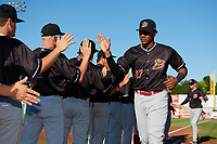 Batavia Muckdogs right fielder Jerar Encarnacion (27) during introductions before a game against the Auburn Doubledays on June 15, 2018 at Falcon Park in Auburn, New York.  Auburn defeated Batavia 5-1.  (Mike Janes/Four Seam Images)