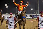 MAR 28,2015:Secret Circle,ridden by Victor Espinoza,wins the Dubai Golden Shaheen at Meydan in Dubai,UAE. Kazushi Ishida/ESW/CSM