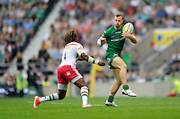 James Short of London Irish catches the ball as Marland Yarde of Harlequins pressures during the Premiership Rugby Round 1 match between London Irish and Harlequins at Twickenham Stadium on Saturday 6th September 2014 (Photo by Rob Munro)