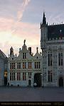Civil Registry and Town Hall Stadhuis at Dawn, Burg Square, Bruges, Brugge, Belgium