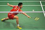 QIAO Bin of China in action while playing against PRANNOY H.S. of India during the YONEX-SUNRISE Hong Kong Open Badminton Championships 2016 at the Hong Kong Coliseum on 23 November 2016 in Hong Kong, China. Photo by Marcio Rodrigo Machado / Power Sport Images