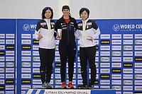 SPEEDSKATING: SALT LAKE CITY: Utah Olympic Oval, 09-03-2019, ISU World Cup Finals, Podium 1000m Ladies, Miho Takagi (JPN), Brittany Bowe (USA), Nao Kodaira (JPN), ©Martin de Jong