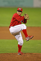 September 1, 2009:  Pitcher Jonny Bravo of the Batavia Muckdogs delivers a pitch during a game at Dwyer Stadium in Batavia, NY.  The Muckdogs are the Short-Season Class-A affiliate of the St. Louis Cardinals.  Photo By Mike Janes/Four Seam Images