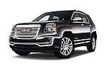 Stock pictures of low aggressive front three quarter view of 2016 GMC Terrain Denali 5 Door SUV Low Aggressive
