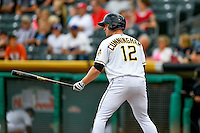 Todd Cunningham (12) of the Salt Lake Bees at bat against the Round Rock Express in Pacific Coast League action at Smith's Ballpark on August 15, 2016 in Salt Lake City, Utah. Round Rock defeated Salt Lake 5-4.  (Stephen Smith/Four Seam Images)