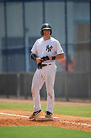 GCL Yankees East Alex Guerrero (8) during a Gulf Coast League game against the GCL Phillies East on July 31, 2019 at Yankees Minor League Complex in Tampa, Florida.  GCL Yankees East defeated the GCL Phillies East 11-0 in the first game of a doubleheader.  (Mike Janes/Four Seam Images)