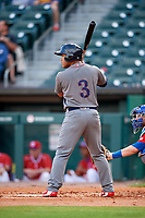 Lehigh Valley IronPigs second baseman Heiker Meneses (3) at bat in front of catcher Danny Jansen (9) during a game against the Buffalo Bisons on June 23, 2018 at Coca-Cola Field in Buffalo, New York.  Lehigh Valley defeated Buffalo 4-1.  (Mike Janes/Four Seam Images)