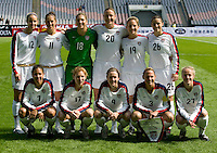 The USA starting eleven lines up before the start of the Four Nations Tournament in Guangzhou, China on January 16, 2008. The U.S. defeated Canada, 4-0.