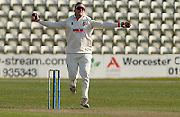 Simon Harmer of Essex in bowling action during Worcestershire CCC vs Essex CCC, LV Insurance County Championship Group 1 Cricket at New Road on 30th April 2021