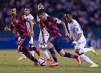 SAN PEDRO SULA, HONDURAS - SEPTEMBER 8: Christian Pulisic #10 of the United States dribbles during a game between Honduras and USMNT at Estadio Olímpico Metropolitano on September 8, 2021 in San Pedro Sula, Honduras.
