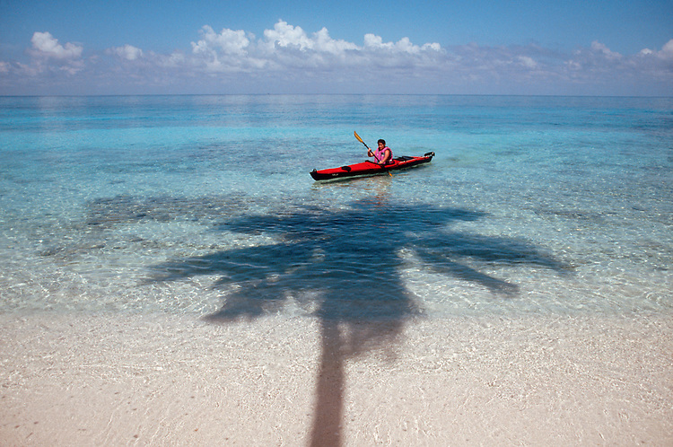 Belize: Lime Cay: Woman sea kayaker paddling, white-sand beach, palm tree island off the coast of Belize.